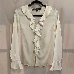 Kasper petites cream ruffled blouse